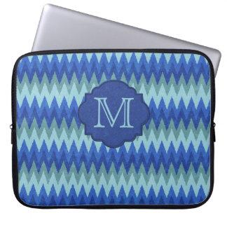 Elegant Blue Chevron Monogram Laptop Sleeve