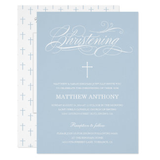 Elegant Blue Christening | Baptism Photo Card