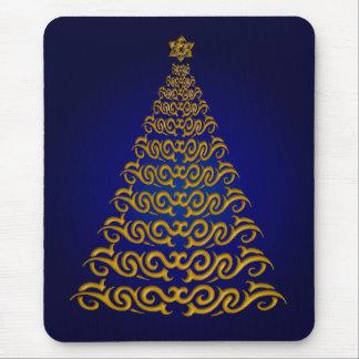 Elegant  Blue Christmas Tree Mouse Pad