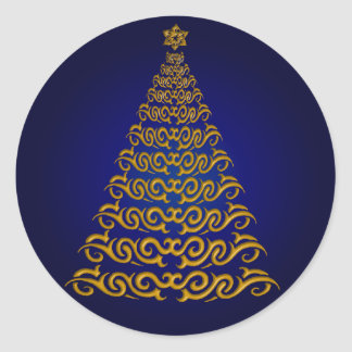 Elegant Blue Christmas Tree Stickers