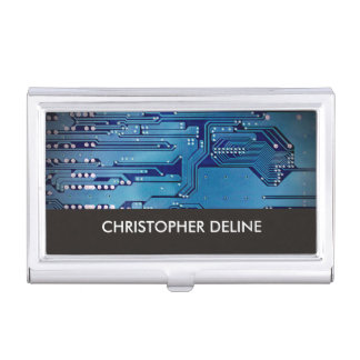 Elegant Blue Computer Circuit Board HighTech Business Card Holder