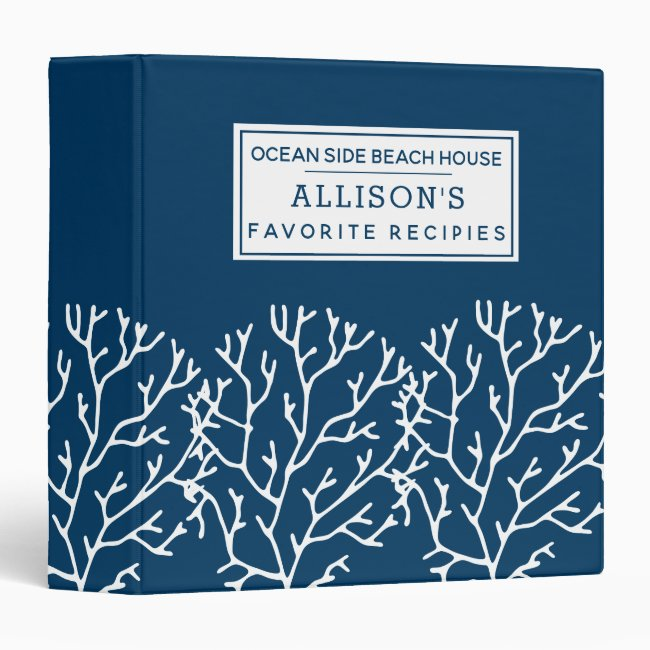 Elegant Blue Coral Pattern - Beach House Recipes