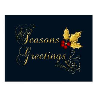 elegant blue Corporate holiday Greetings Postcard