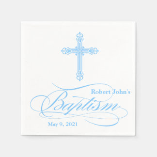 Elegant Blue Cross Baptism Personalized Napkin
