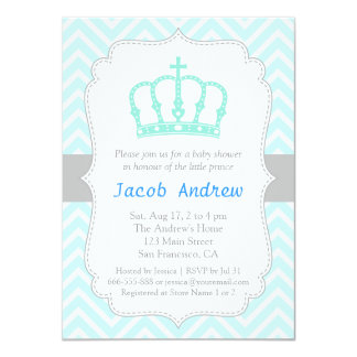 Elegant Blue Crown Prince Baby Shower Invitation