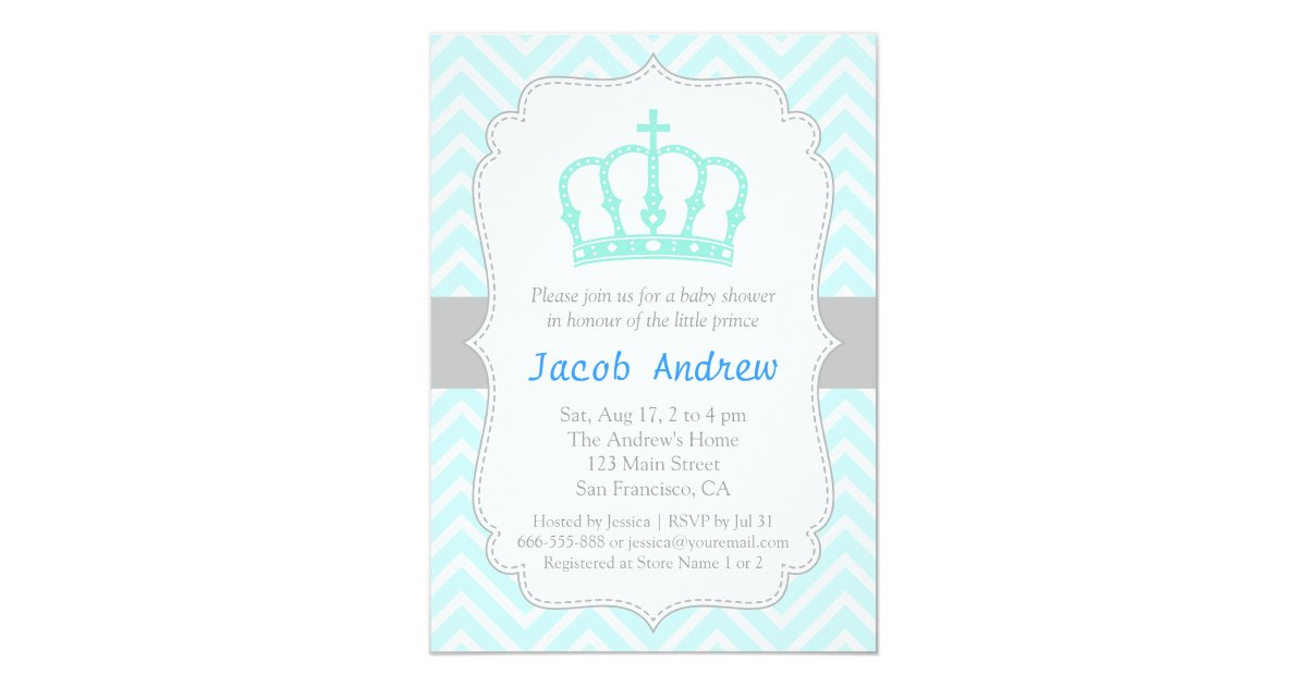 Elegant Blue Crown Prince Baby Shower Invitation | Zazzle.com
