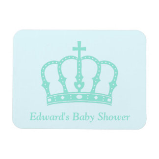 Elegant Blue Crown Prince Baby Shower Magnet