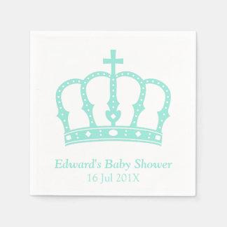 Elegant Blue Crown Prince Baby Shower Standard Cocktail Napkin