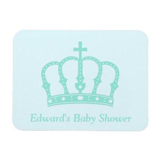 Elegant Blue Crown Prince Baby Shower Rectangular Photo Magnet