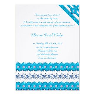 Elegant Blue Daisies Re-Affirmation Invitation