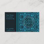 Elegant Blue Damask and Celtic Knot Business Card