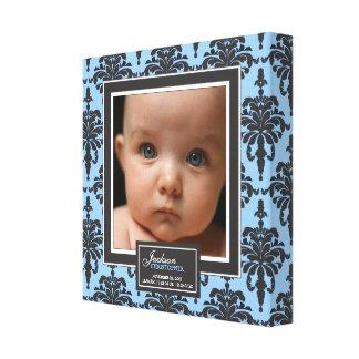 Elegant Blue Damask Baby Photo Birth Decor Canvas Print