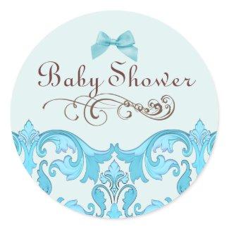 Elegant Blue Damask Baby Shower Envelope Sticker sticker