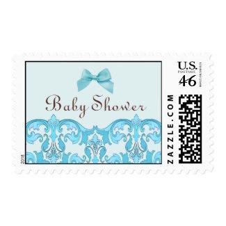 Elegant Blue Damask Baby Shower Stamp stamp