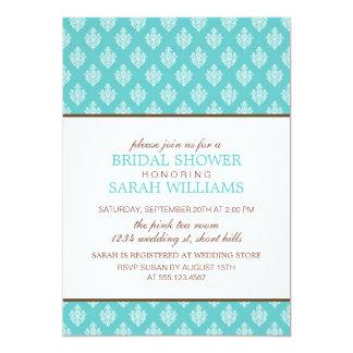 Elegant Blue Damask Bridal Shower Card