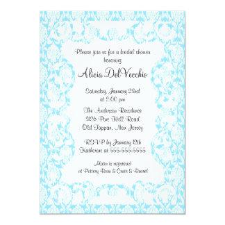 Elegant Blue Damask Bridal Shower Invitation
