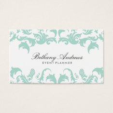 Elegant Blue Damask Business Cards - Groupon at Zazzle