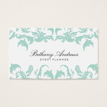 Professional Business Elegant Blue Damask Business Cards - Groupon