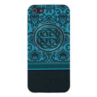 Elegant Blue Damask Celtic Knot iPhone Case Cover For iPhone 5