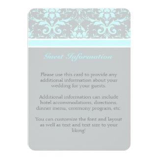 Elegant Blue Damask Guest Information Card