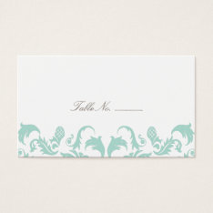 Elegant Blue Damask Guest Table Escort Cards at Zazzle
