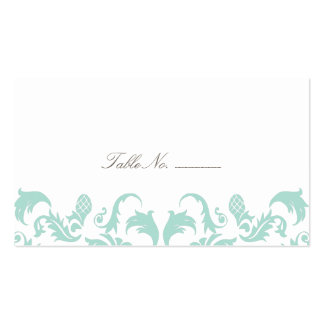 Elegant Blue Damask Guest Table Escort Cards Double-Sided Standard Business Cards (Pack Of 100)