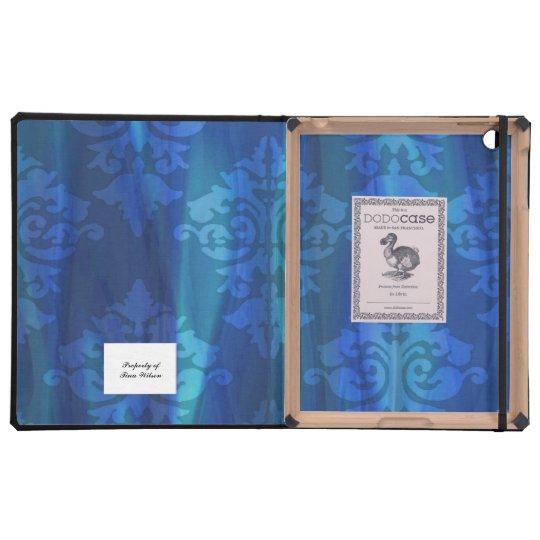 Elegant Blue Damask Lined iPad Case