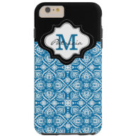 Elegant Blue Damask Pattern Custom Monogram [1]