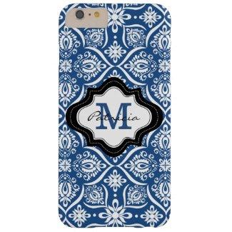 Elegant Blue Damask Pattern Custom Monogram [2]