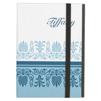 Elegant Blue Damask Personalized iPad Cases