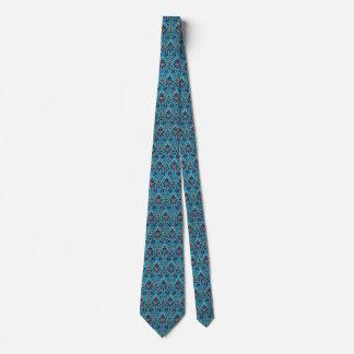 Elegant Blue Damask Print Tie