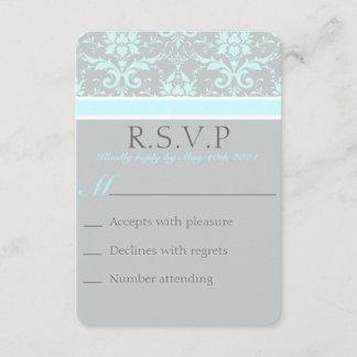 Elegant Blue Damask RSVP Card