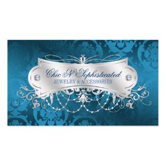 Elegant Blue Damask Swirl Business Cards