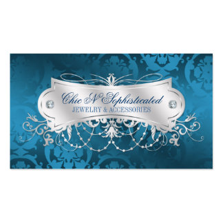 Elegant Blue Damask Swirl Double-Sided Standard Business Cards (Pack Of 100)