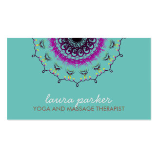 Elegant Blue Damask Swirl Yoga Healing Health Business Card