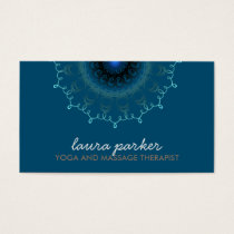 Elegant Blue Damask Swirl Yoga Healing Health Business Card