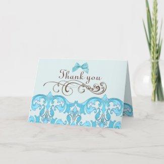 Elegant Blue Damask Thank You Card card