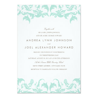 Elegant Blue Damask Wedding Invitation