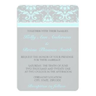 Elegant Blue Damask Wedding Invitations