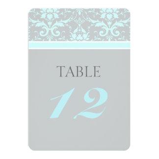 "Elegant Blue Damask Wedding Table Numbers 5"" X 7"" Invitation Card"