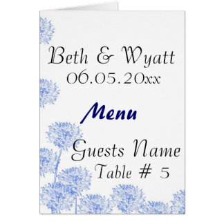 Elegant Blue Dandelion Wedding Table & Menu Cards