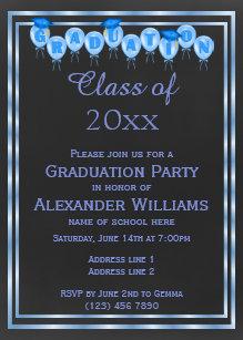 Double graduation invitations zazzle elegant blue double framed mens graduation magnetic invitation filmwisefo
