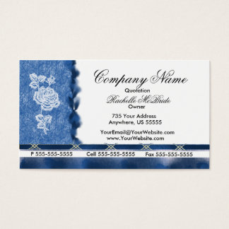 Elegant Blue Embroidery White Rose Business Cards