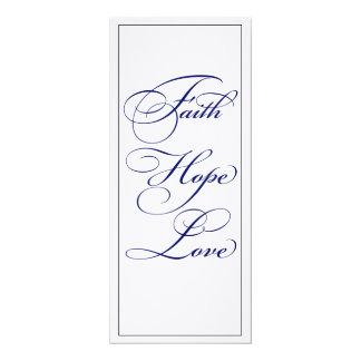 Elegant Blue Faith Hope and Love Wedding Menu Card