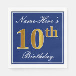 [ Thumbnail: Elegant Blue, Faux Gold 10th Birthday; Custom Name Napkin ]