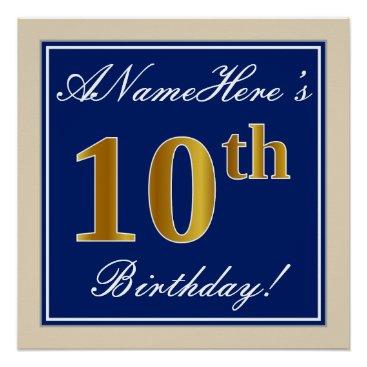 Art Themed Elegant, Blue, Faux Gold 10th Birthday   Name Poster