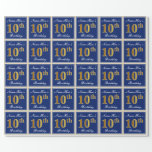 [ Thumbnail: Elegant, Blue, Faux Gold 10th Birthday + Name Wrapping Paper ]