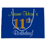 [ Thumbnail: Elegant, Blue, Faux Gold 11th Birthday + Name Gift Bag ]