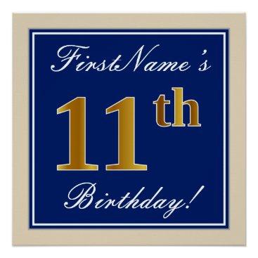 Art Themed Elegant, Blue, Faux Gold 11th Birthday   Name Poster