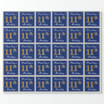 [ Thumbnail: Elegant, Blue, Faux Gold 11th Birthday + Name Wrapping Paper ]